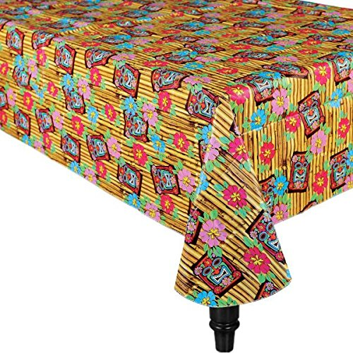 Amscan Tropical Tiki Time Flannel-Backed Table Cover Hawaiian Luau Beach Party Reusable Summer Picnic Tableware Supplies (6 Piece)