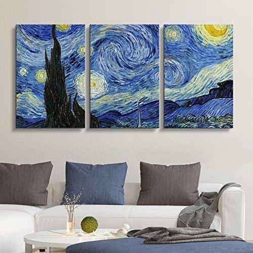 3 Panel Starry Night Vincent Van Gogh x 3 Panels