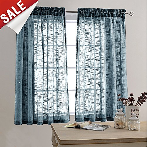 Sheer Curtain Panels for Bedroom Curtain 63 inches Long Rod Pocket Linen Textured Window Curtains (2 Panels, Navy ()
