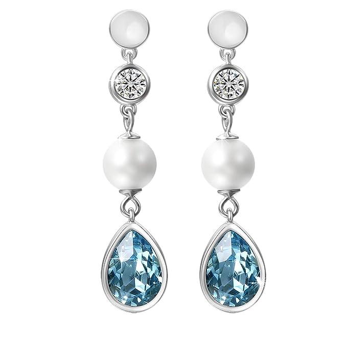 65d9ccc92506 Aroncent 2PCS Pendientes de Swarovski Cristal Azul Aretes Largos de 925  Plata de Ley Esterlina Perla
