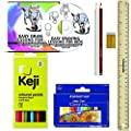 "Learn to Draw Kit Set - Easy Drawing Lessons for Kids - Learn How to Draw Step by Step - E.G. Lutz - Contains CD tutorial, 12 colored pencils, 12 oil pastels, 2 graphite pencils, 12"" ruler, eraser"