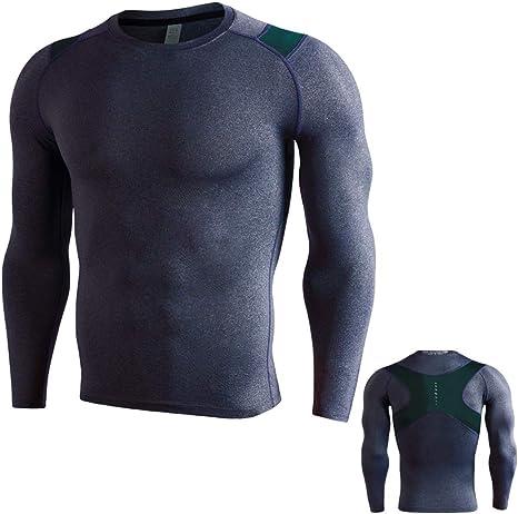 Ropa Deportiva para Hombres, Mallas de Cuello Alto de Secado rápido, Camisa de Manga Larga para Correr Fitness: Amazon.es: Deportes y aire libre