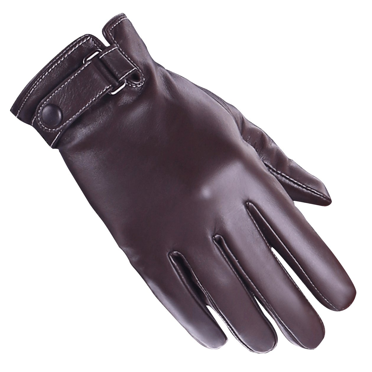 Leather gloves winter warm fashion simple business sheepskin gloves brown classic for men size XL
