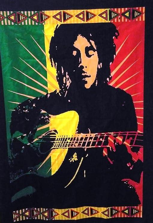 P/óster de Bob Marley legendario con guitarra , tapiz indio, Hippie Wall Decor, Boho Decoraci/ón De Dormitorio, bohemio colgar en la pared