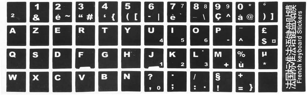 TOOGOO(R)Negro Cubierta de pegatina de teclado Azerty Frances de letras blancas para PC ordenador portatil