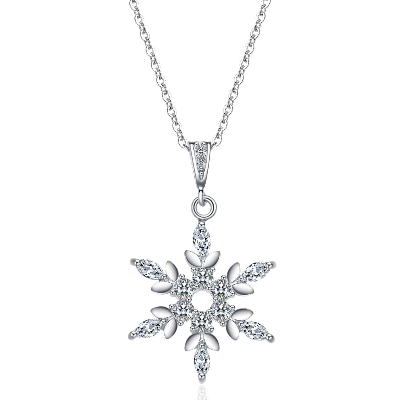Halskette silber  B.Catcher Damen Kette mit Schneeflocken 925 Sterling Silber ...