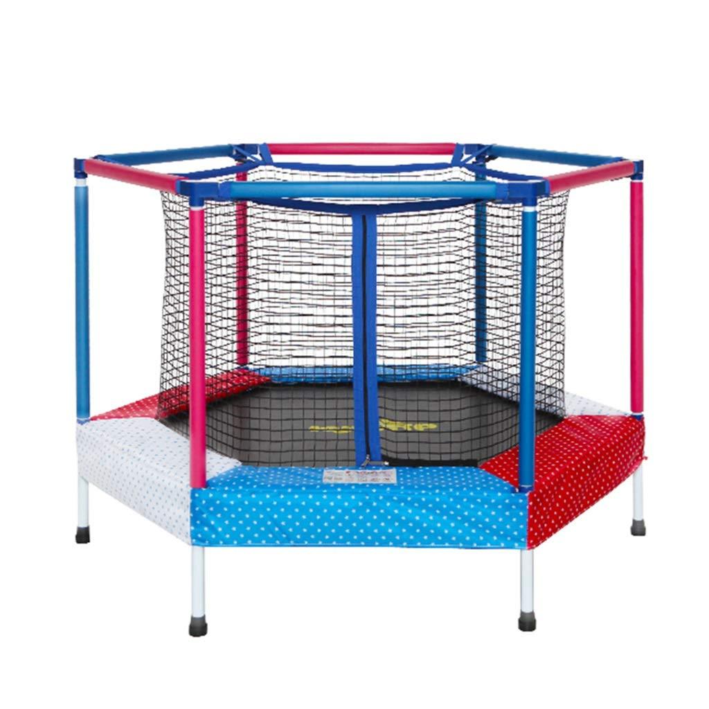Trampolin Kinder Hause Indoor Schutz Netto frühling Bounce Bett springen Bett Spielzeug Krabbeln Matte Nicht Faltbare Spielzeug (Farbe : Blau, Größe : 122  122  87cm)