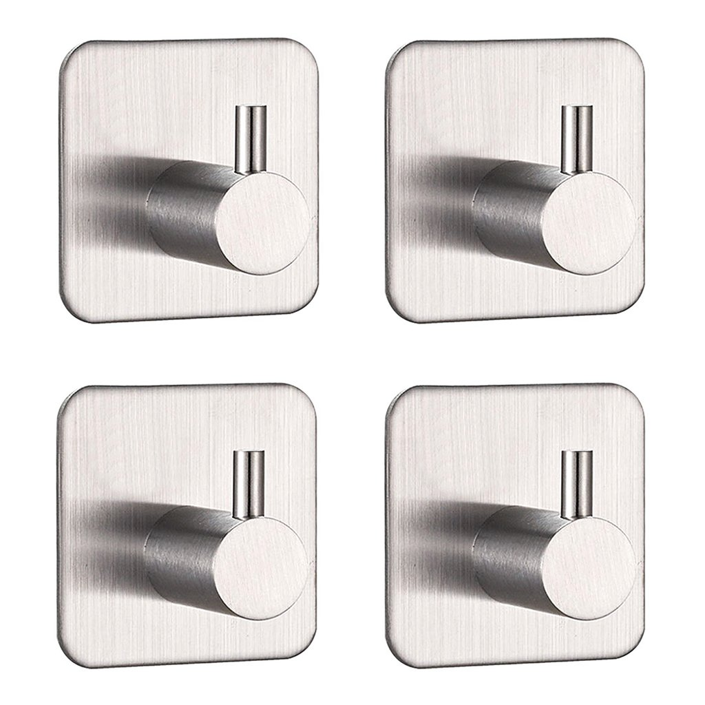 BTSKY 4 pack of Stylish Brushed 304 Stainless Steel 3M Self Adhesive Bathrooms Lavatory Closets Coat Towel Robe Hook Rack Rail 1-Hook