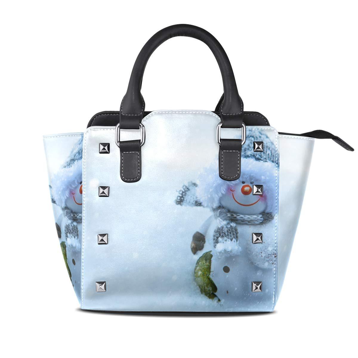 Design 3 Handbag Snowman Snowflake Snowball And Elk Genuine Leather Tote Rivet Bag Shoulder Strap Top Handle Women