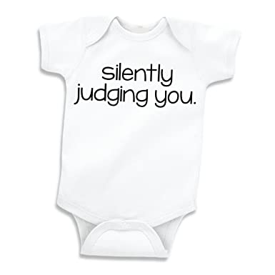 986e41d5a Bump and Beyond Designs Silently Judging You, Funny Baby Bodysuit for Boys  or Girls (