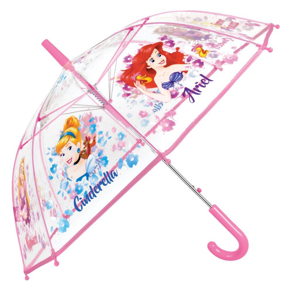 Paraguas Princesas Disney Niña - Paraguas Transparente de Burbuja con estampado Ariel Cenicienta y Rapunzel - Resistente, Antiviento y Largo - 5/8 Años - 74 cm de diámetro - Perletti 50424