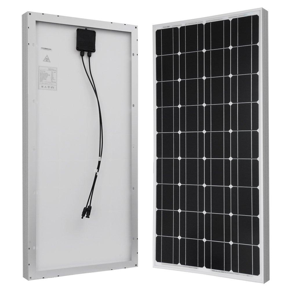 HQST 100 Watt 12 Volt Monocrystalline Solar Panel