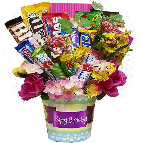 Cookie Bouquet Gift Basket - Happy Birthday! Candy, Chocolate and Cookie Bouquet