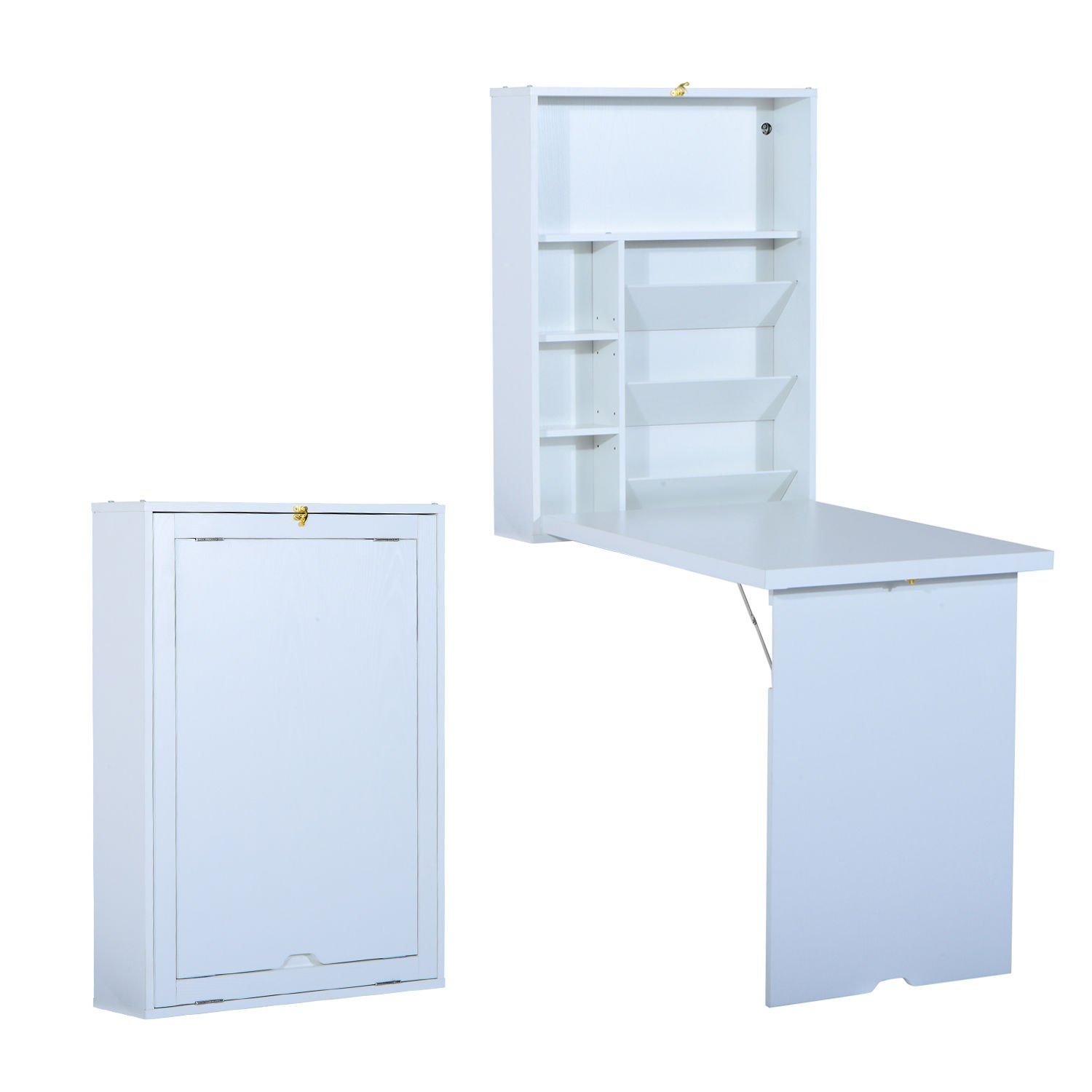 HomCom Compact Fold Out Wall Mounted Convertible Workstation Desk With Storage - White by HOMCOM