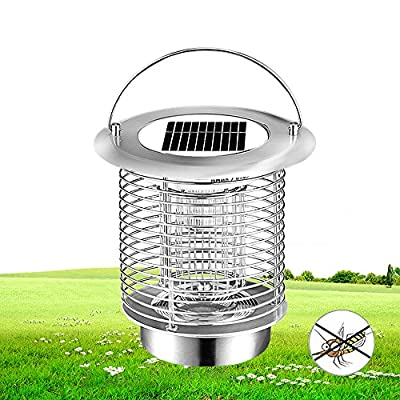 YOUDirect Zapper-Mosquito Killer Night Lamp Portable Solar Powered Electronic Insect Killer Perfect for Indoor and Outdoor, Stainless Steel Light Trap