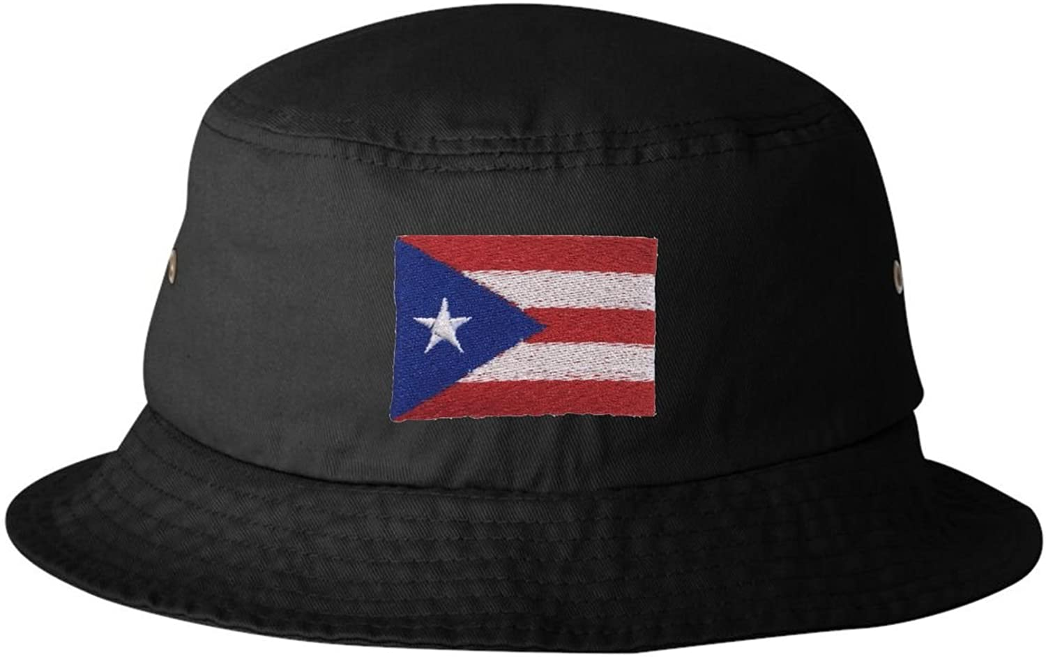Adult Puerto Rico Flag Embroidered Bucket Cap Dad Hat