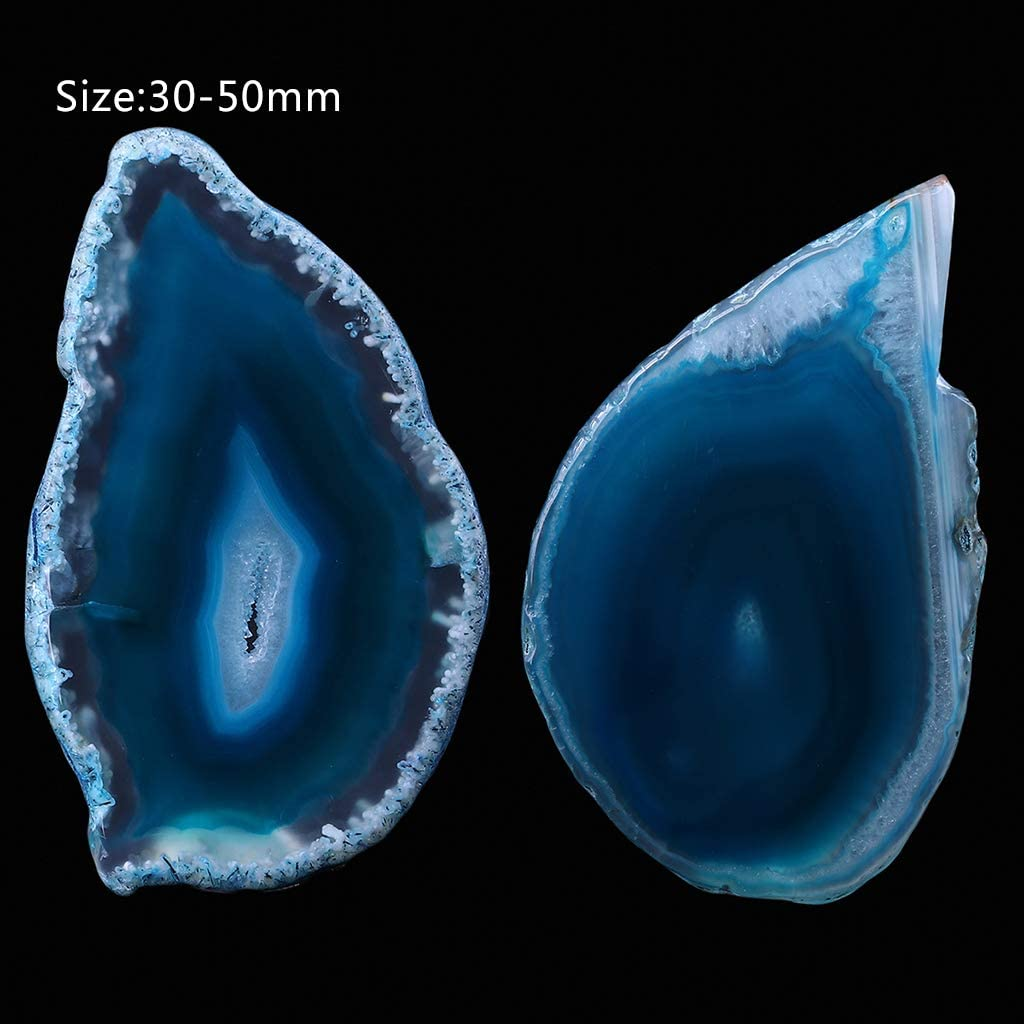 Gwxevce Ágata Natural Geoda Cristal Pulido Irregular Slice Stone DIY Colgante Mineral Decoración del hogar Azul