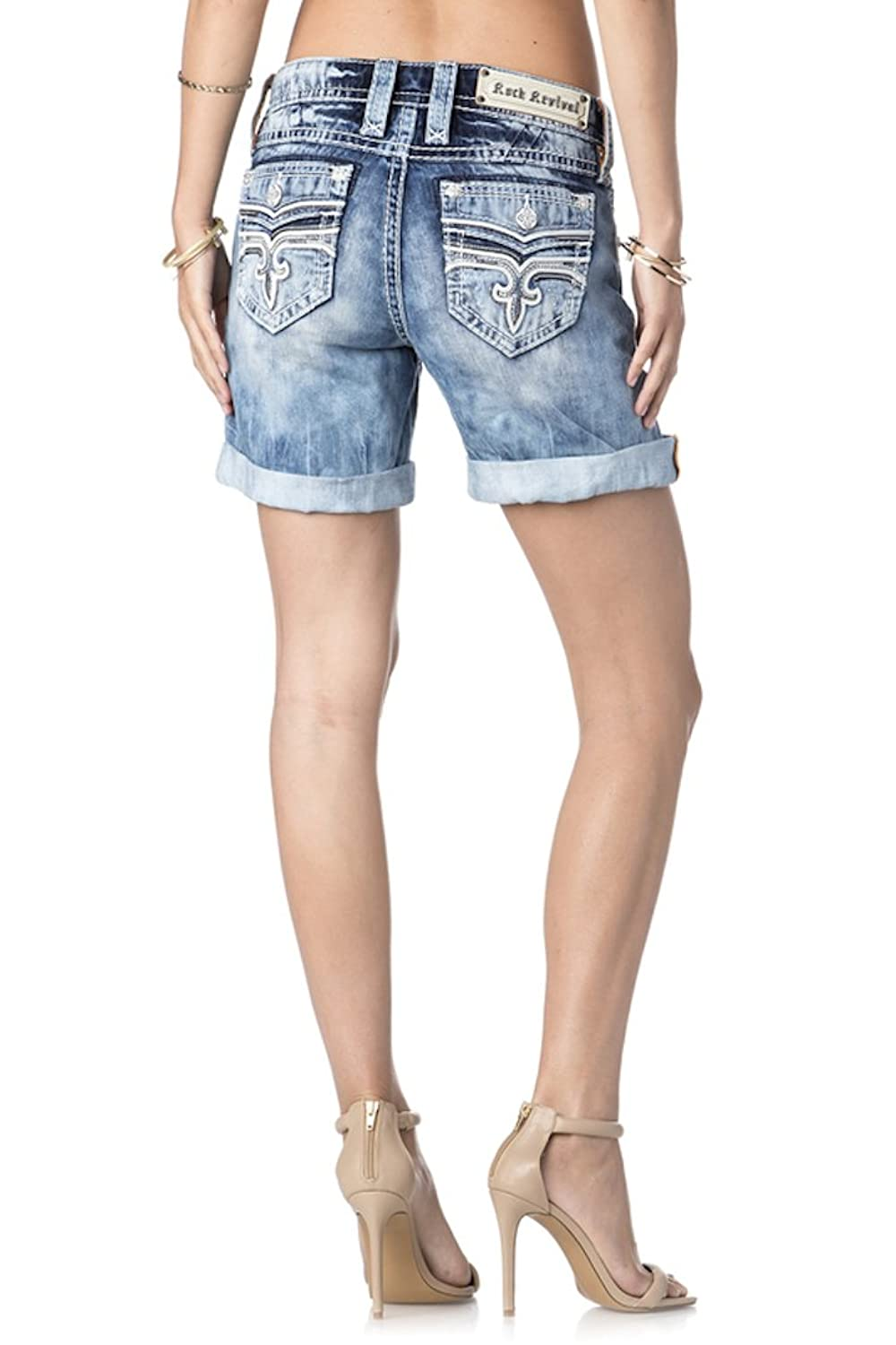 Rock Revival Jeans Women's Sybella RH500 Easy Fit Shorts Medium Wash Mid Thigh