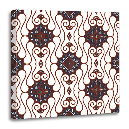 Old Indonesia Batik - Emvency Canvas Wall Art Print Abstract Indonesia Brown Batik Pattern Java Clip Culture East Artwork for Home Decor 20 x 20 Inches