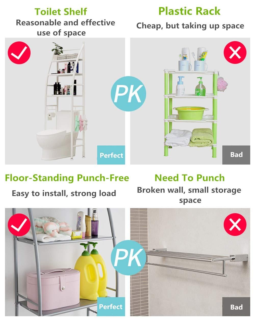 Bathroom Shelf Over Toilet Roll Holder and Towel Hook,Kitchen Holder,3 Washingmachine Shelf