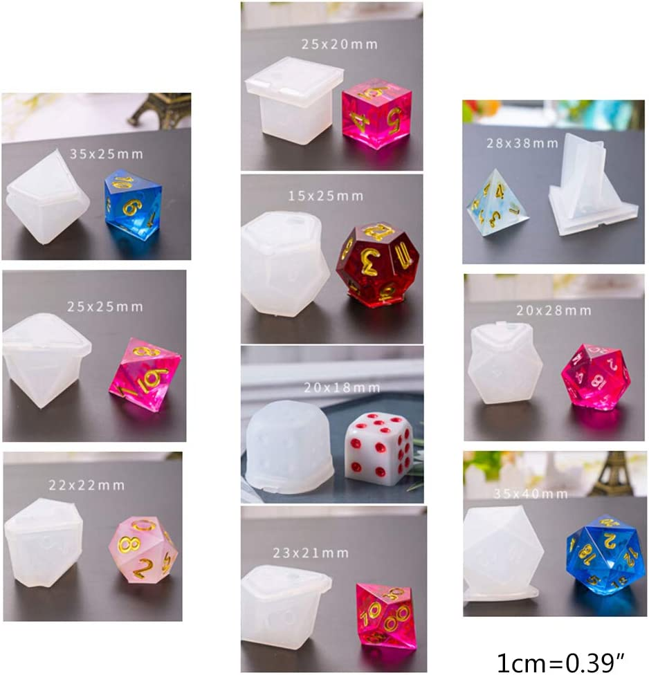 GUSENG 10 Pcs//Set DIY Dice Mould Transparent Epoxy Mold UV Resin Crafts Making Molds