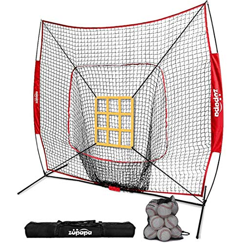 Backstop Portable Cage (Zupapa 12 Pack Baseballs 7' x 7' Baseball Softball Hitting Pitching Net Set, Bonus Vivid Strike Zone, Practice Hitting, Pitching, Batting and Catching Great for All Skill Levels)