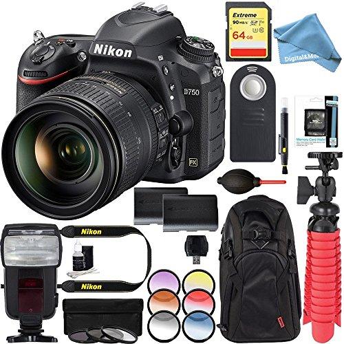 Nikon D750 24.3MP Digital SLR Camera with AF-S NIKKOR 24-120mm f/4G ED VR Lens + Dual Battery & 64GB & DigitalAndMore Free Deluxe Accessory Kit Bundle by DigitalAndMore