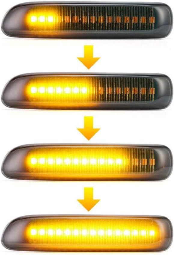 HBNW Ahumado Lente Secuencial Marcador Llevado De Vuelta del Lado De La Se/ñal De Actualizaci/ón L/ámparas En Forma para El 3Er E46 Limo Coupe Cabriolet Compacto Amber