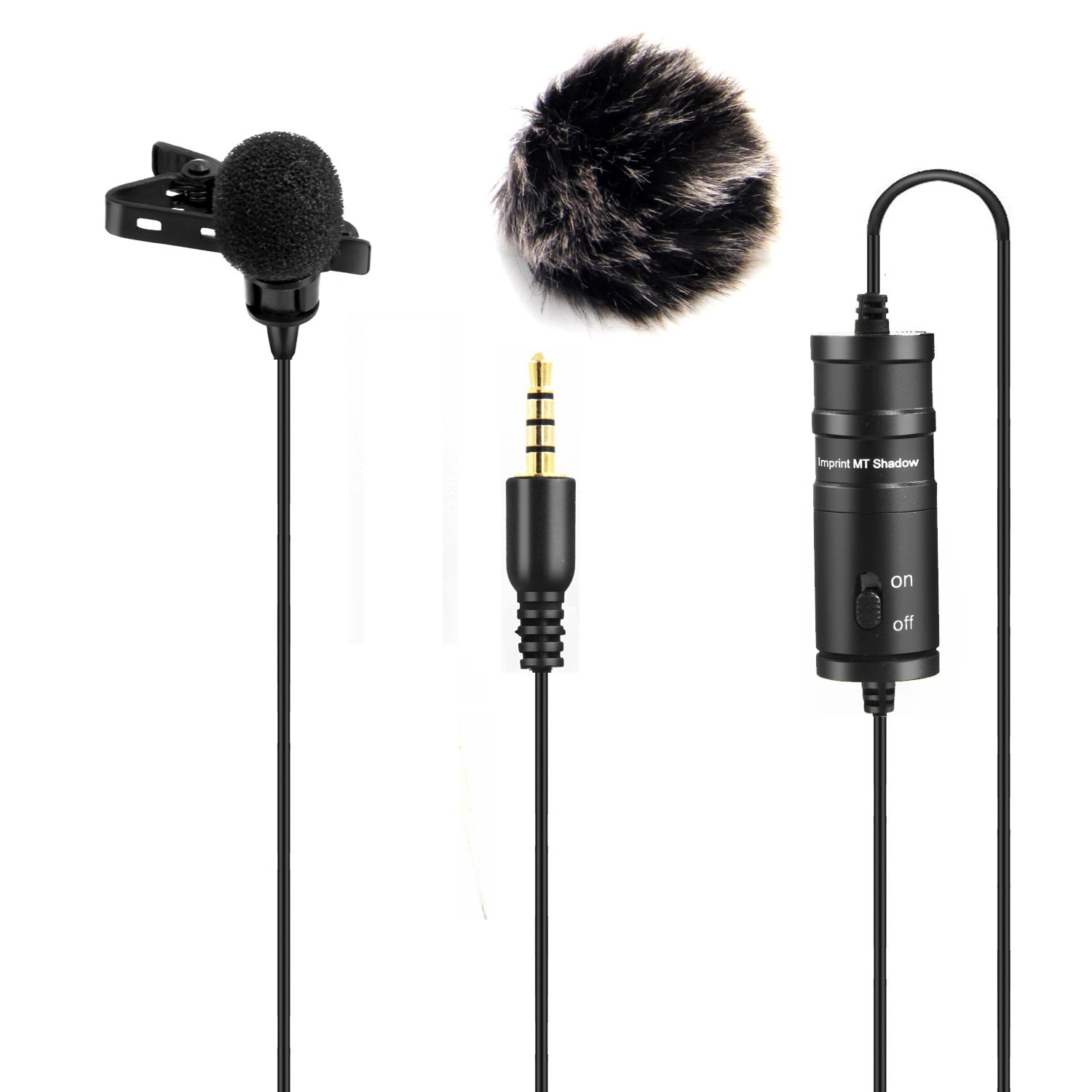 Nicama LVM1 Lavalier Microphone, Hands Free Clip-on Lapel Omnidirectional Condenser Mic with Windscreen Muff for Mirrorless Camera Sony DSLR iPhone Android Samsung PC Laptop MacBook (236in Cable)
