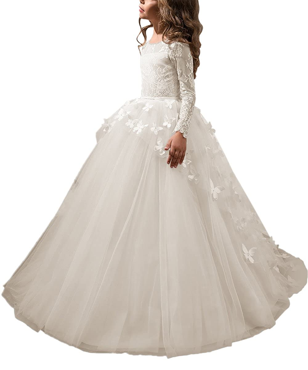 969574761 Amazon.com: Abaowedding Lovely First Communion Dress Long Sleeves Pink Prom  Gown: Clothing