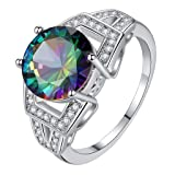 Fxbar Women Colored Round Zircon Rings Fashion