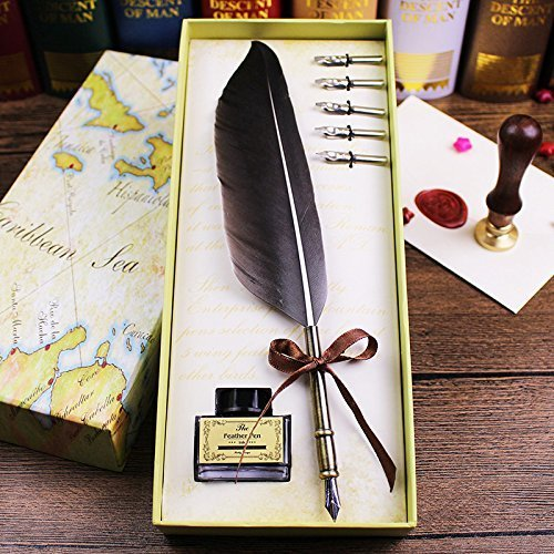 igraphy Pen Set -Writing Quill Ink Dip Pen with 5 Extra metal Nibs Vintage Quill Feather Pen Wedding Gift Quill Pen Fountain Pen ()