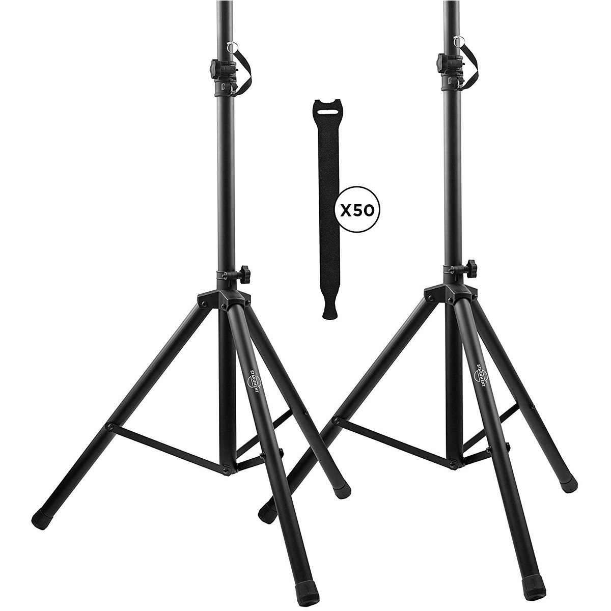 Pa Speaker Stands Pair Pro Adjustable Height with 50 Cable Ties Kit To Secure Cable to stand (2 Stands) 6ft Tripod Speaker stands by Starument