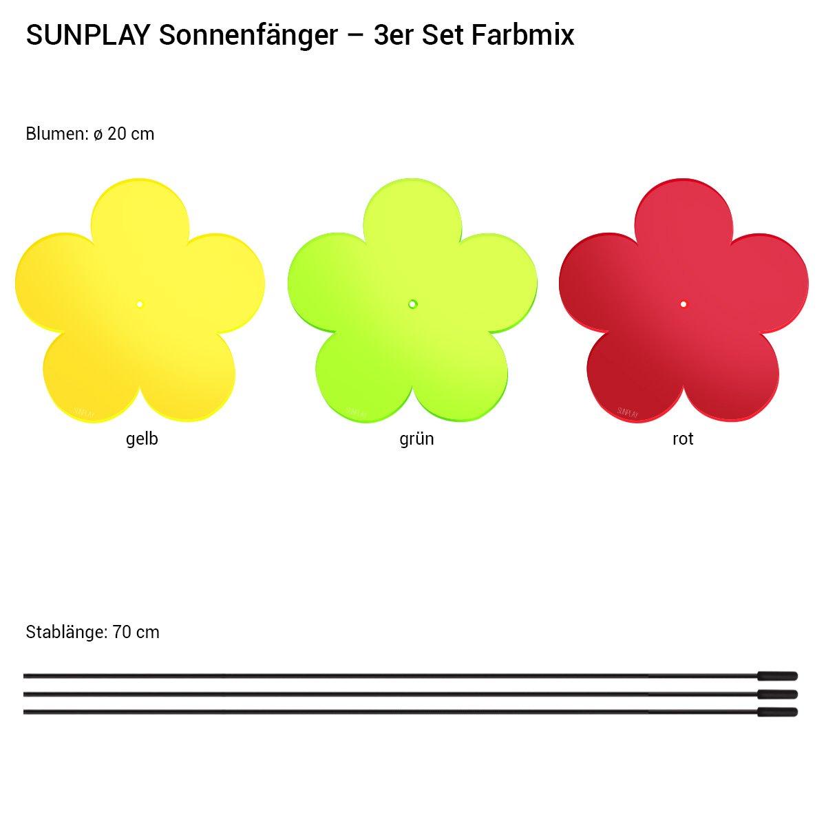 3 St/ück je 20 cm Durchmesser im Set Gelb 70 cm Schwingst/äbe Rot SUNPLAY Sonnenf/änger-Blumen 3er Set Gr/ün