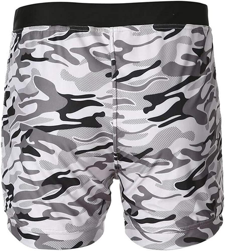 MIARHB Mens Camo Print Cargo Shorts for Swim Running Surfing Sports Beach Wear