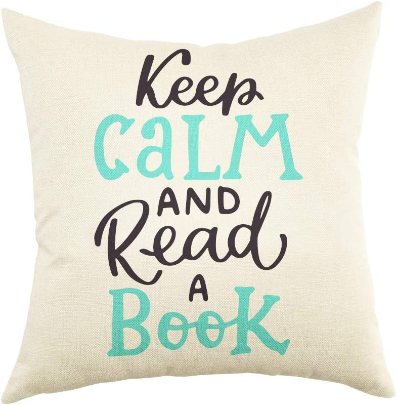 Ogiselestyle Keep Calm and Read A Book Motivational Quote Throw Pillow Cover Reading Decoration Home Decor Cotton Linen Cushion Case with Words for Sofa Couch Decorative Pillow Case 18