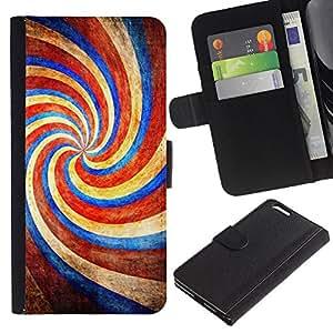 KLONGSHOP // Tirón de la caja Cartera de cuero con ranuras para tarjetas - Caramelo Parque Rojo Azul caramelo - Apple Iphone 6 PLUS 5.5 //