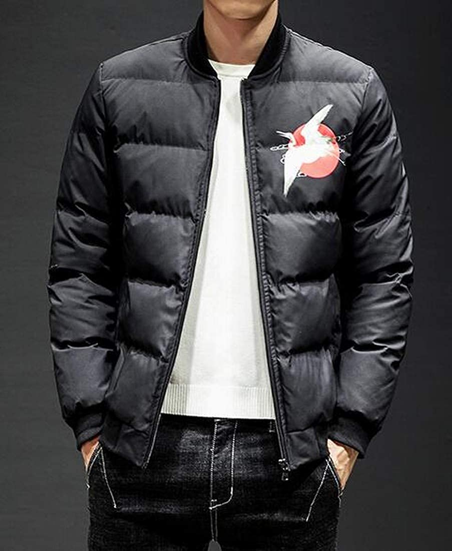 Fubotevic Mens Zip Up Chinese Style Winter Printing Relaxed Fit Down Coat Jacket Overcoat