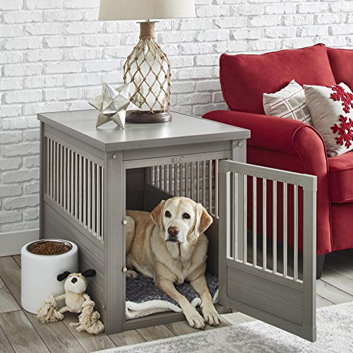 Contemporary End Table Pet Crate and Kennel with Stainless Steel Spindles - Includes Modhaus Living Pen (Large, Gray)