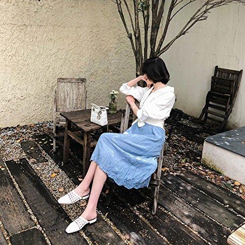 Tacón Perezosos Zapatos DHG del sin los Llevan Retro Verano Baotou 36 del Planas Medias Las Blanco Mujeres Tejidas q7RZO