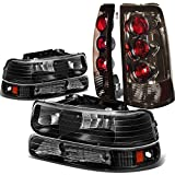 Replacement for Chevy Silverado GMT800 4pc Pair of Black Amber Corner Headlight + Smoked Lens Altezza Style Tail Light