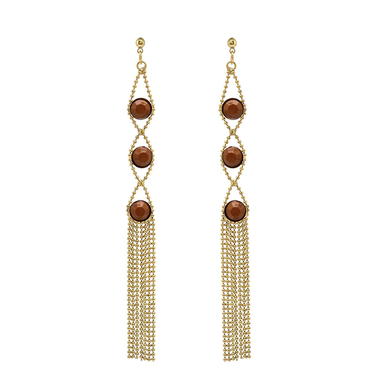 Zephyrr Contemporary Golden Alloy Drop Earrings Brown Glass Beaded Long JAE-3297