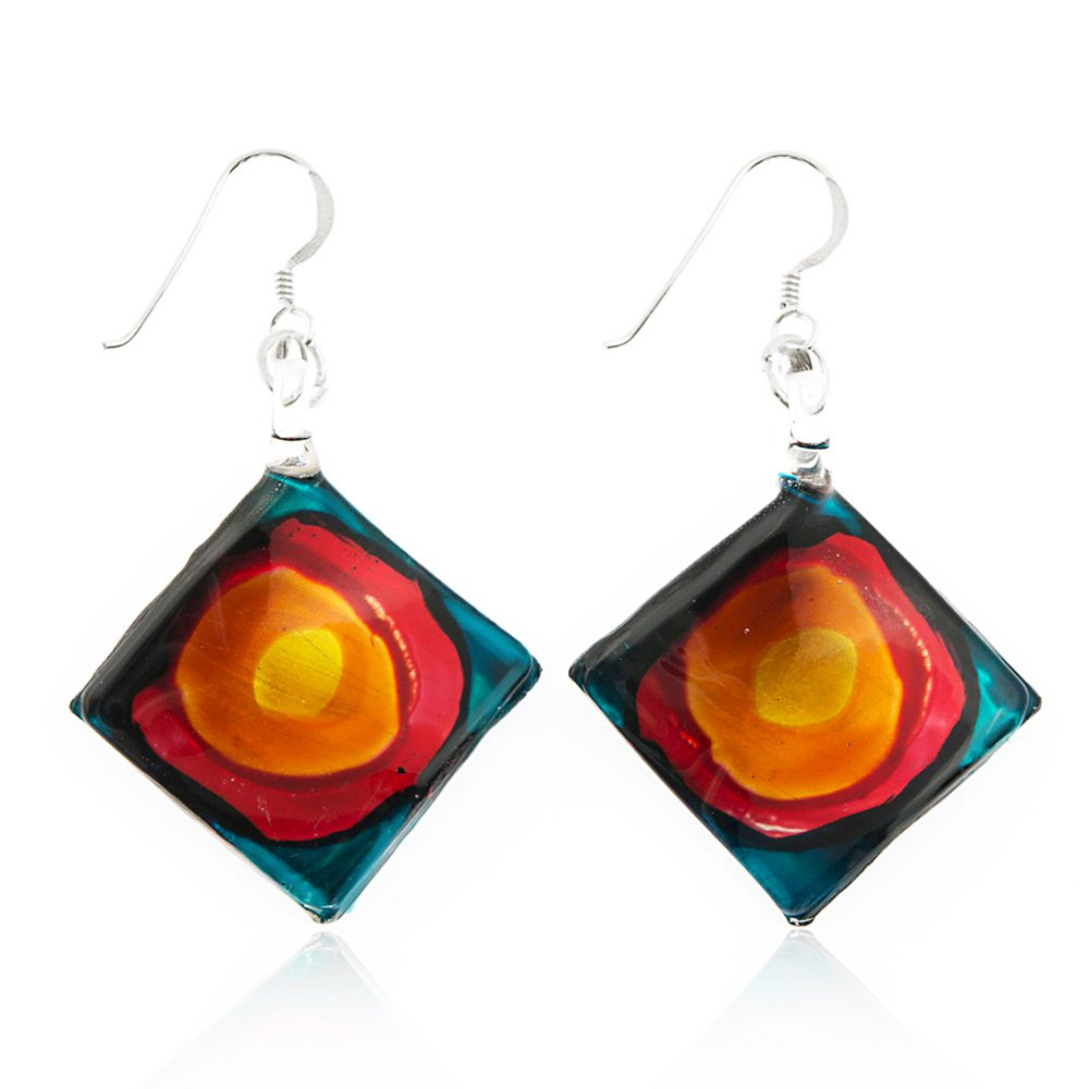 Sterling Silver Hand Painted Murano Glass Blue Red Orange Art Square Dangle Earrings 2""