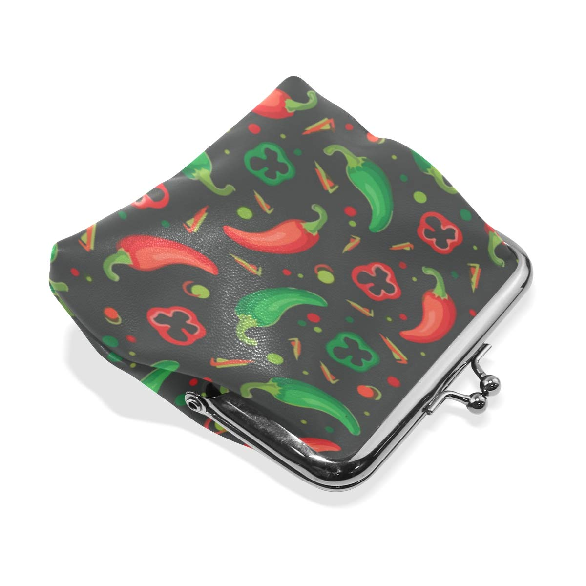Vegan Peppers Red Hot Chili Coin Purse Buckle Vintage PU Pouch Kiss-lock Wallet for Women Girl