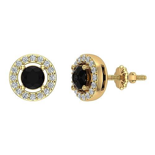 Natural Black Diamond Halo Stud Diamond Earrings 14K Gold