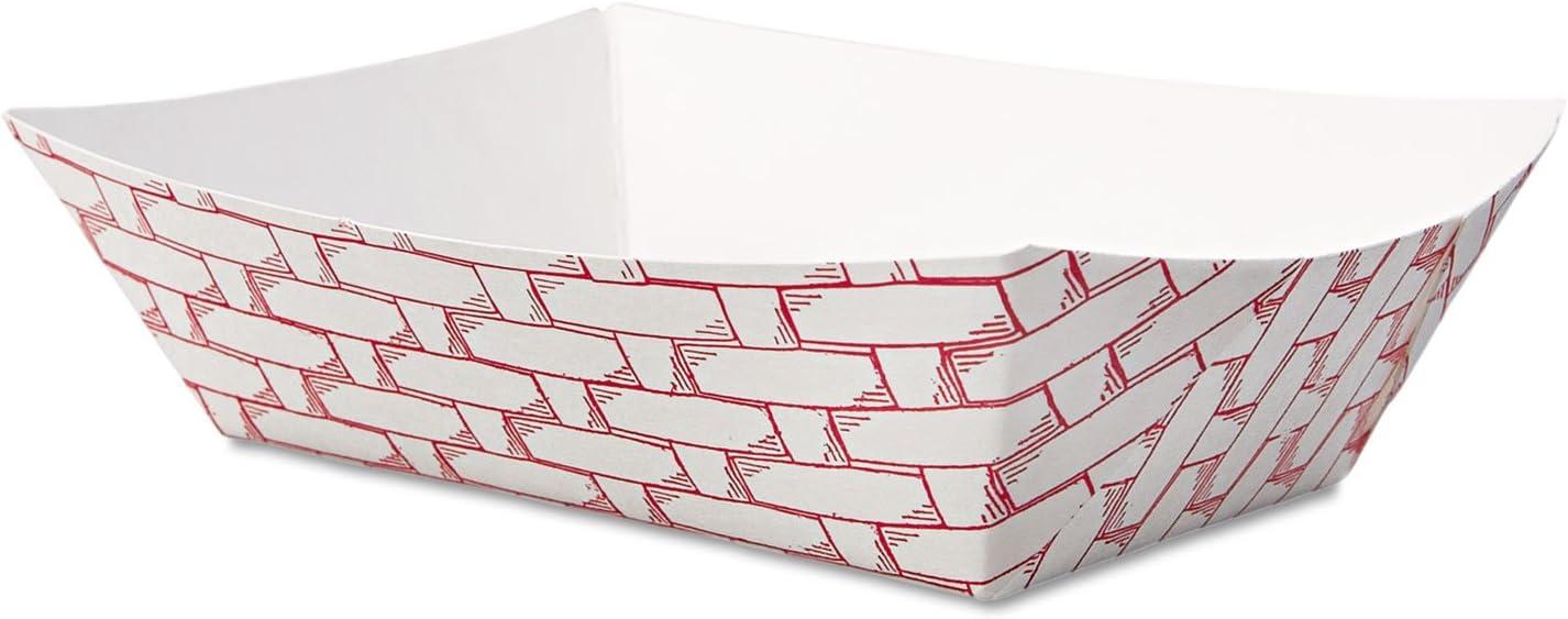 Boardwalk 30LAG050 Paper Food Baskets, 1/2 lb Capacity, Red/White, 1000/Carton
