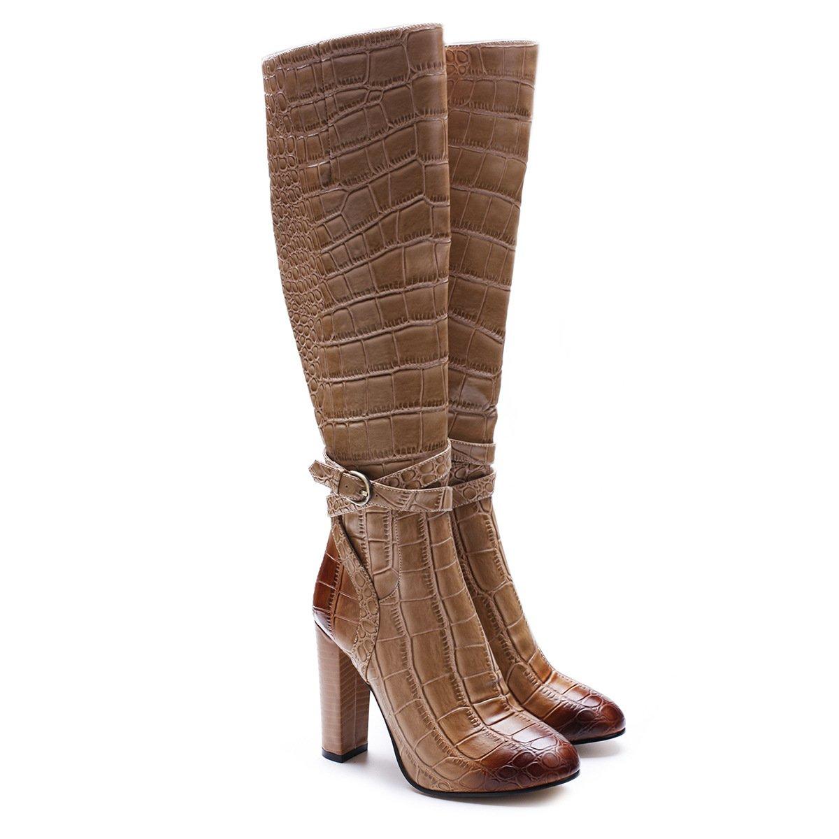 ZPL Stiefel Damen Oberschenkelhohe Stiefel Oberschenkel hoch Overknees Leder Blockieren Stöckelschuhe Winter Braun Krokodilmuster Stiefel Schuhe Größe 35-46