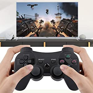 PS3 Wireless Controller 2 Pack Sixaxis Double Shock Bluetooth Gaming Controller for Sony Playstation 3 w/Charging Cord (PS3 Controller 2 Pack, Whole Black) (Color: Whole Black, Tamaño: PS3 Controller 2 Pack)