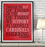 Louisville Cardinals inspired Art Print, Dickens Best of Times Parody, Custom & Personalized, UNFRAMED, Birthday - Fathers Day - Housewarming - Wedding - Christmas gift for him