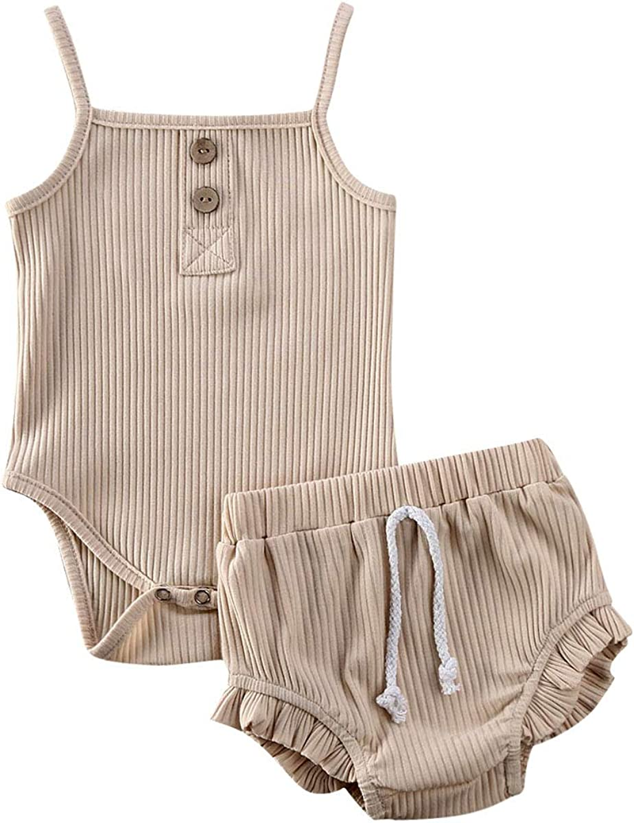Infant Baby Girl Boy Outfits Knit Solid Color Short//Long Sleeve Romper Bodysuit Bloomers Shorts Ribbed Clothes Set